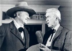 John Wayne and James Stewart in The Shootist.