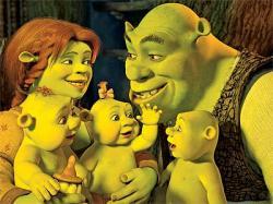 Fiona, Shrek and the baby ogres in Shrek the Third.