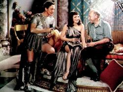 Fredric March, Claudette Colbert and Cecil B. DeMille on the set of The Sign of the Cross