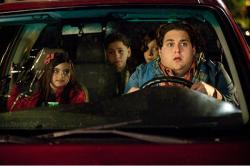 Landry Bender, Kevin Hernandez, Max Records and Jonah Hill in The Sitter.