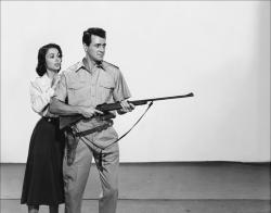Dana Wynter and Rock Hudson in Something of Value.