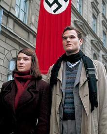 Julia Jentsch and Fabian Hinrichs as Sophie and Hans Scholl.