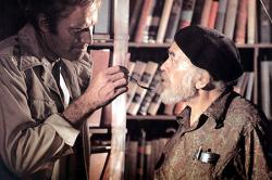 Charlton Heston and Edward G. Robinson in Soylent Green.