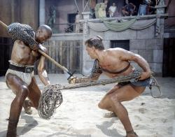 Woody Strode and Kirk Douglas in Spartacus.