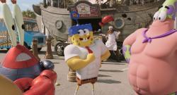 Mr. Krabs, SpongeBob Antonio Banderas and Patrick in The SpongeBob Movie: Sponge Out of Water