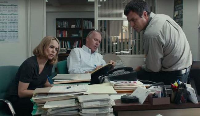 Rachel McAdams, Michael Keaton, and Mark Ruffalo in Spotlight.