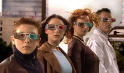 Daryl Sabara, Alexa Vega, Antonio Banderas and Carla Gugino in Spy Kids 3-D: Game Over.