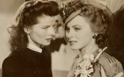 Katharine Hepburn telling Cheryl Walker to buck up in Stage Door Canteen