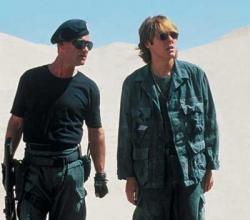 Kurt Russell and James Spader in Stargate.