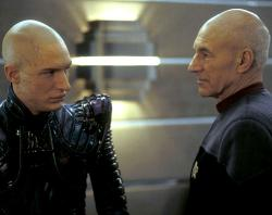 Tom Hardy and Patrick Stewart in Star Trek X: Nemesis.