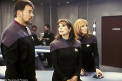 Jonathan Frakes, Marina Sirtis and Gates McFadden in Star Trek X: Nemesis.