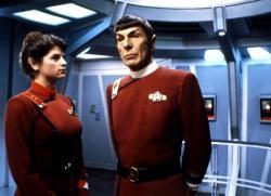 Kirstie Alley and Leonard Nimoy in Star Trek II: The Wrath of Khan.