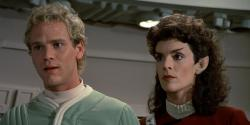 Merritt Butrick and Robin Curtis in The Search for Spock
