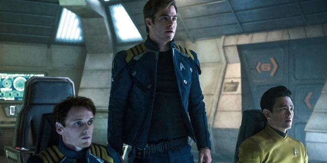 Anton Yelchin, Chris Pine and John Cho in Star Trek Beyond
