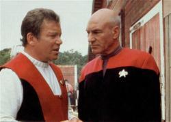 Wiliam Shatner and Patrick Stewart in Star Trek VII: Generations