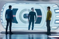 Zachary Quinto, Benedict Cumberbatch and Chris Pine in Star Trek Into Darkness.