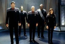 Jonathan Frakes, Brent Spiner, Patrick Stewart, Michael Dorn and Marina Sirtis in Star Trek IX: Insurrection