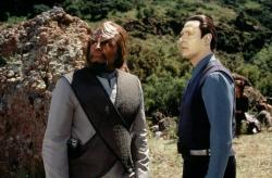 Michael Dorn and Brent Spiner in Star Trek: Insurrection.