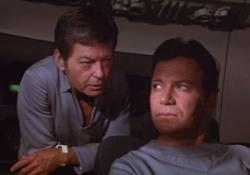DeForest Kelley and William Shatner in Star Trek: The Motion Picture.