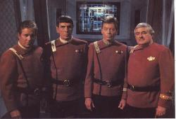 William Shatner, Leonard Nimoy, Deforest Kelley and James Doohan make one last journey together on board the Enterprise in Star Trek VI: The Undiscovered Country.