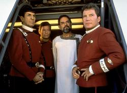 Leonard Nimoy, DeForest Kelley, Laurence Luckinbill and William Shatner in Star Trek V: The Final Frontier.