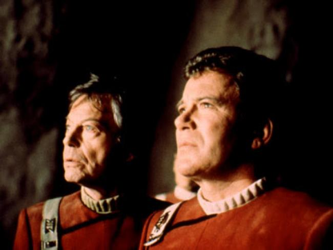 DeForest Kelley and William Shatner in Star Trek V: The Final Frontier