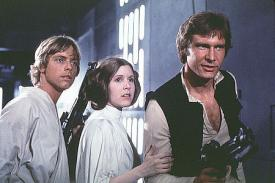 Mark Hamill, Carrie Fisher and Harrison Ford in Star Wars.