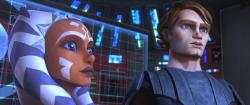 Ahsoka  and Anakin in Star Wars: The Clone Wars.
