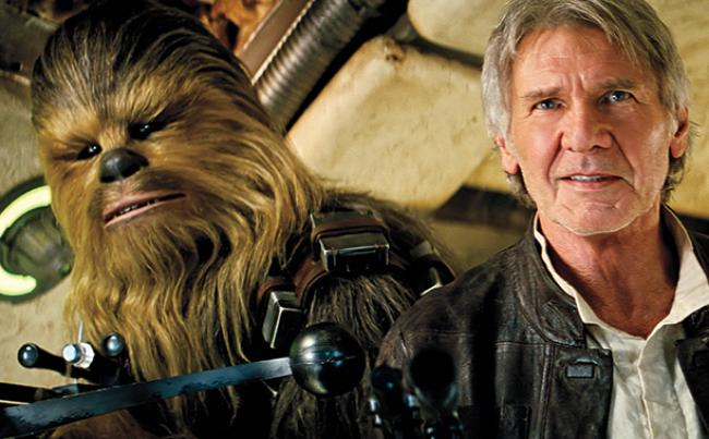 Peter Mayhew and Harrison Ford return as Chewbacca and Han Solo in Star Wars: The Force Awakens.