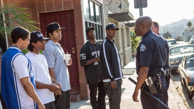N.W.A. face off with LAPD in Straight Outta Compton.