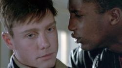 Mitchell Lichtenstein and Michael Wright in Streamers.