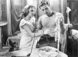 Kim Hunter and Marlon Brando in A Streetcar Named Desire.