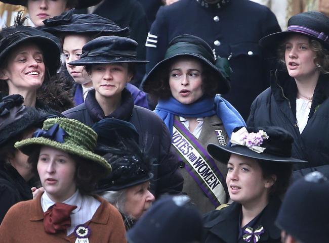 Anne-Marie Duff, Carey Mulligan, and Helena Bonham Carter in Suffragette.