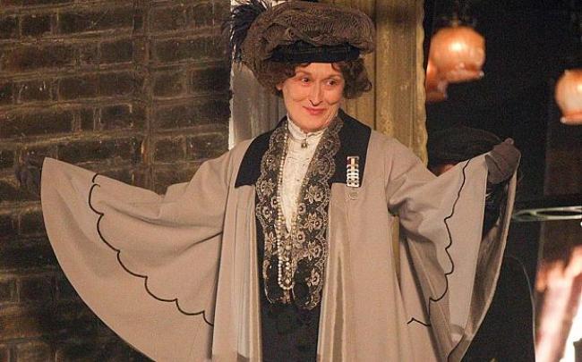 Meryl Streep as real life suffragette Emmeline Pankhurst.