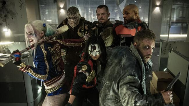 Margot Robbie, Adewale Akinnuoye-Agbaje, Karen Fukuhara, Joel Kinnaman, Will Smith and Jai Courtney in Suicide Squad.
