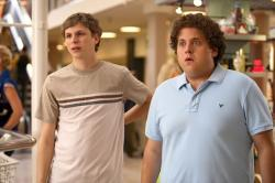 Michael Cera and Jonah Hill in Superbad.