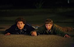 Jonah Hill and Michael Cena in Superbad.