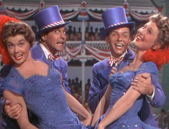 Esther Williams, Gene Kelly, Frank Sinatra and Betty Garrett in Take Me Out to the Ball Game.