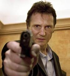 Liam Neeson making like an older Jason Bourne.