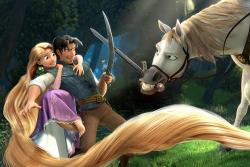 Flynn, Rapunzel and Maximus in Tangled.