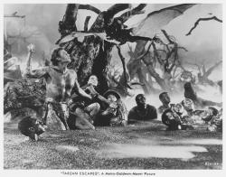 A still from the infamous and missing giant vampire bat scene from Tarzan Escapes.