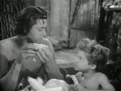 Johnny Weissmuller and Johnny Sheffield as Tarzan and Boy.