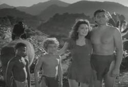 Cheetah, Tumbo, Boy, Jane and Tarzan make one big happy family in Tarzan's Secret Treasure.