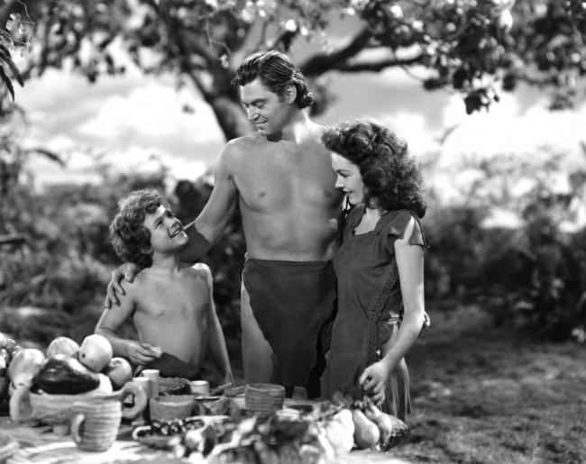 Johnny Sheffield, Johnny Weissmuller and Maureen O'Sullivan in Tarzan's Secret Treasure