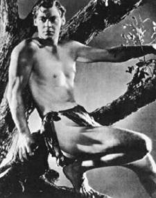 Johnny Weissmeuller as Tarzan the ape man.