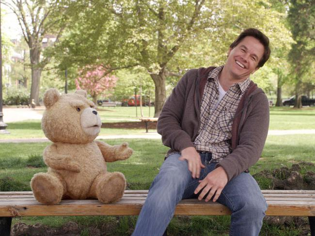 Ted and Mark Wahlberg in Ted 2.