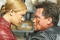 Kristanna Loken and Arnold Schwarzenegger in T3: Rise of the Machines.