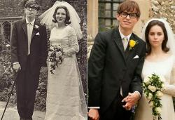 Stephen and Jane Hawking/Eddie Redmayne and Felicity Jones in The Theory of Everything