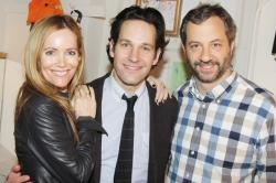Leslie Mann with her on screen husband Paul Rudd and her off screen husband Judd Apatow.