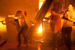 Emma Watson, Jonah Hill, and Seth Rogen in This Is the End.